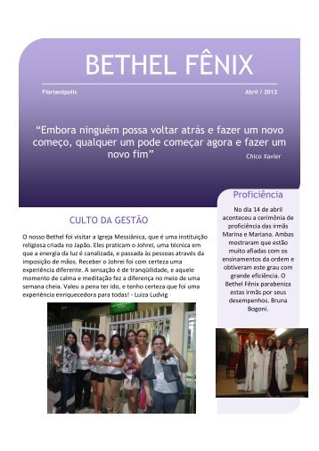 Newsletter Abril 1 - Bethel Fênix 08 de Santa Catarina