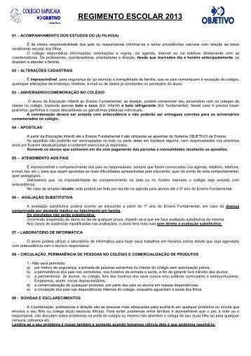 REGIMENTO ESCOLAR 2013 - Colégio SAPUCAIA