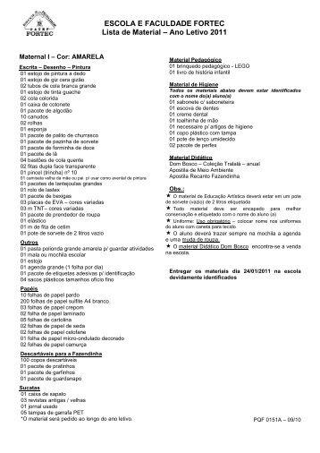 Lista Material 2011 - Fortec