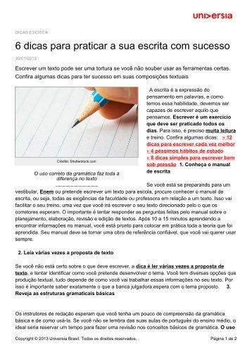 6 dicas para praticar a sua escrita com sucesso - Universia ...