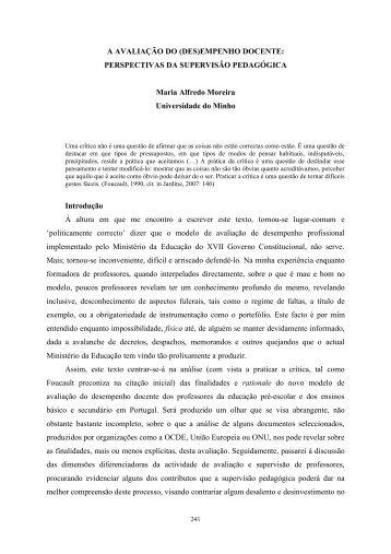 A AVALIAÇÃO DO (DES)EMPENHO DOCENTE: PERSPECTIVAS ...