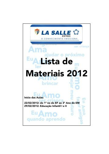 Lista de Materiais 2012 - Portal La Salle