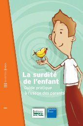 La surdité de l'enfant - Guide pratique à l'usage des parents - Inpes