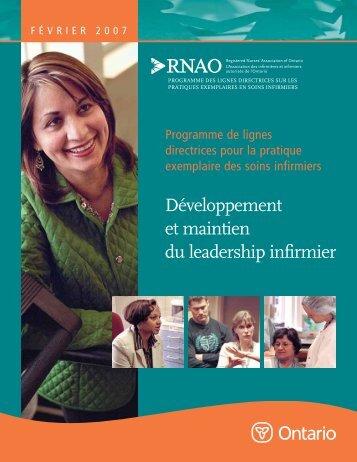 Développement et maintien du leadership infirmier - Registered ...