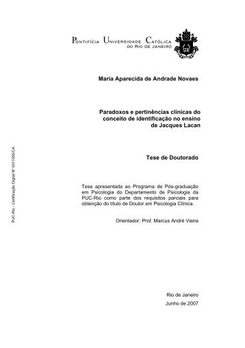 Maria Aparecida de Andrade Novaes Paradoxos e ... - PUC Rio