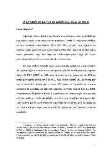 O paradoxo da política de assistência social no Brasil - cpihts