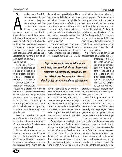 PARADOXOS DO JORNALISMO ECONÔMICO - Adusp