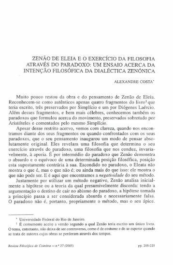 Zenão de Eleia e o exercício da filosofia através - Universidade de ...