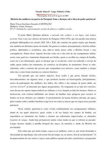 História das mulheres na guerra do Paraguai - Fazendo Gênero 10
