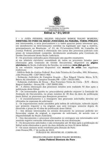 Edital nº 01/2010 - JFPB