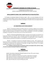 REGULAMENTO GERAL DOS CAMPEONATOS ESTADUAIS/2012