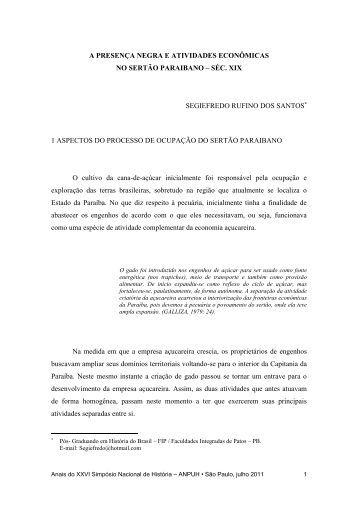 a presença negra e atividades econômicas no sertão paraibano