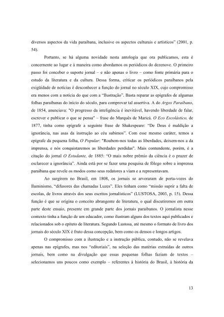 Jornalismo e Literatura no Século XIX Paraibano: uma ... - CCHLA