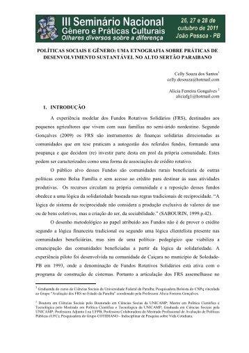 políticas sociais e gênero: uma etnografia sobre ... - Itaporanga.net