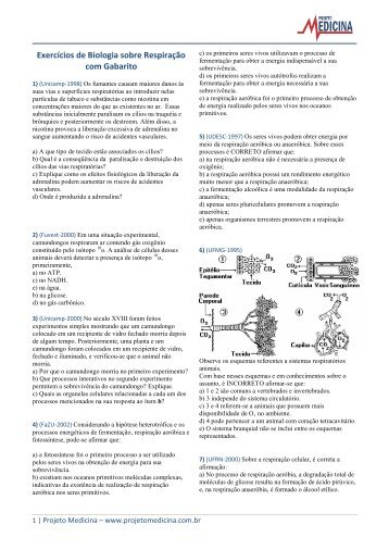 Respiração Animal - Exercícios - Projeto Medicina