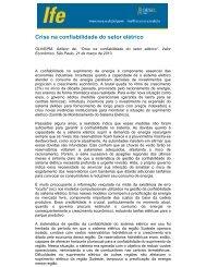 Crise na confiabilidade do setor elétrico - UFRJ