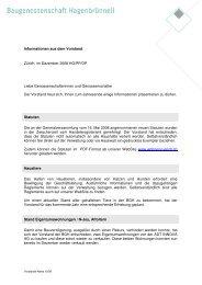 Informationen aus dem Vorstand Zürich, im Dezember 2008 HG/PP ...