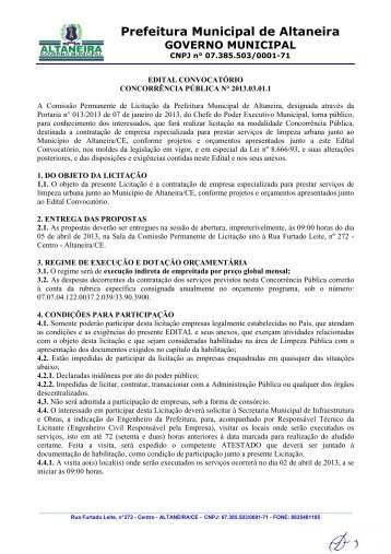 EDITAL 2013.03.01.1 - Limpeza Urbana - ALTANEIRA 2013 - TCM-CE