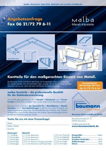 Angebots-Formular MALBA Metall-Kantteile