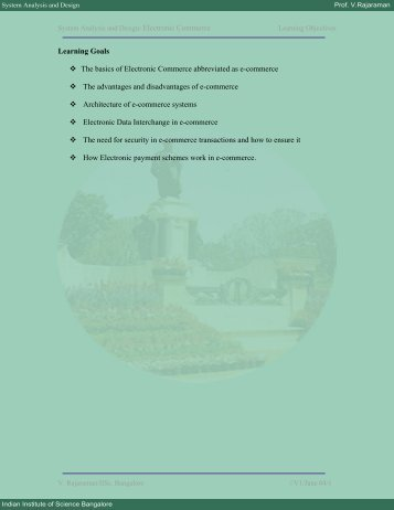 Electronic Commerce System Analysis And Design - E- courses@VTU