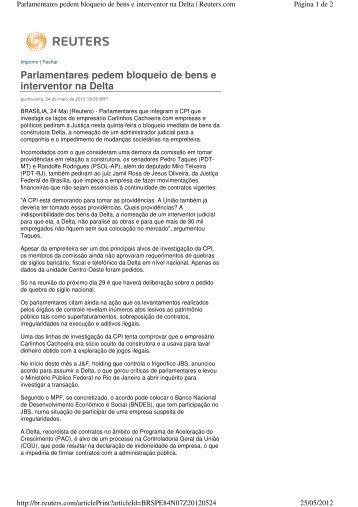 Parlamentares pedem bloqueio de bens e interventor na Delta - ESPM