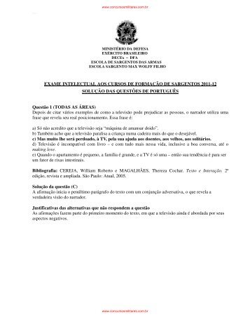 Prova de Português - Concursos Militares