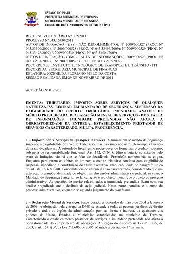 acórdão 2011/12 - Prefeitura Municipal de Teresina