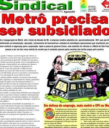 Jornal do Usuário nº 57 - Agosto/03 - Metroviários