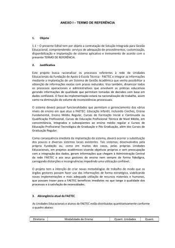 Anexo I - Termo de referência - Faetec