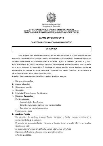 Matemática - Secretaria de Educação de Pernambuco
