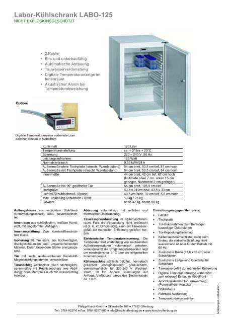 Labor-Kühlschrank LABO-125 - Zerfass GmbH
