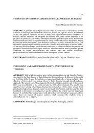 filosofia e interdisciplinaridade: uma experiência ... - Revista Húmus