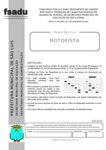 MOTORISTA - Fundação Sousândrade