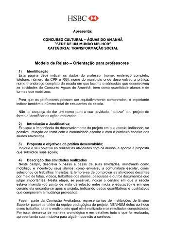 Modelo de Relato – Orientação para professores - Gazeta do Povo
