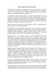 RELATÓRIO DE ATIVIDADES 2010 Ao avaliarmos o ... - Instituto Pólis