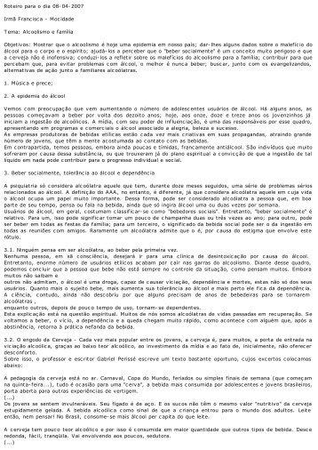 Roteiro para o dia 08-04-2007 Irmã Francisca - Mocidade ... - cvdee