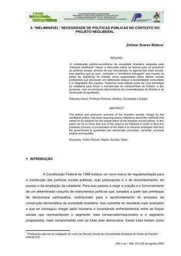 """A """"INELIMINÁVEL"""" - Jornada de Políticas Públicas"""