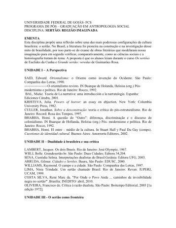 graduação em antropologia social disciplina - Faculdade de ...