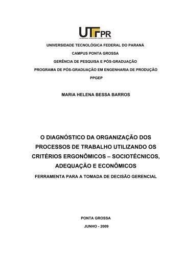 O diagnóstico da organização dos processos de trabalho - UTFPR