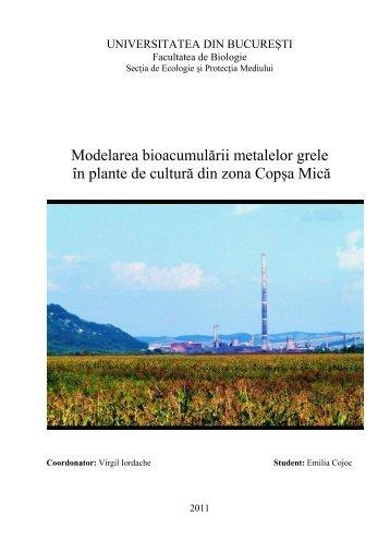Modelarea bioacumulării metalelor grele în plante de cultură - CESEC