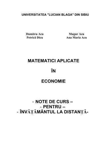 """matematici aplicate în economie - """"Lucian Blaga"""" din Sibiu"""