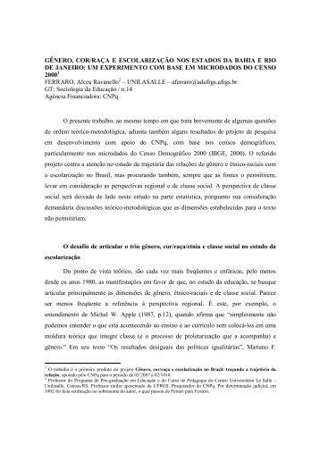 GÊNERO, COR/RAÇA E ESCOLARIZAÇÃO NOS ... - ANPEd