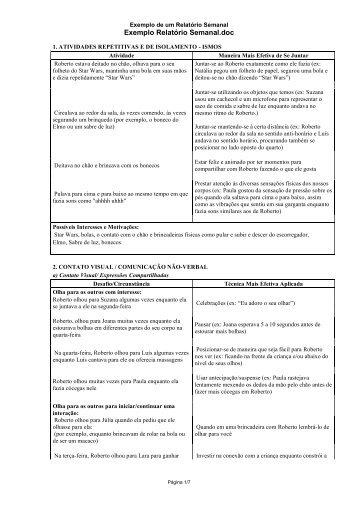Exemplo Relatório Semanal - Eev