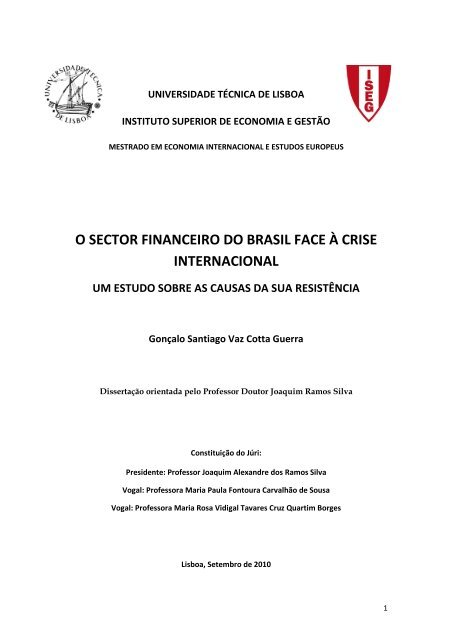 o sector financeiro do brasil face à crise internacional