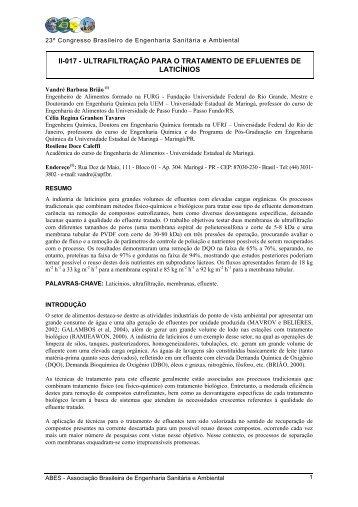 Ultrafiltração para o tratamento de efluentes de laticínios