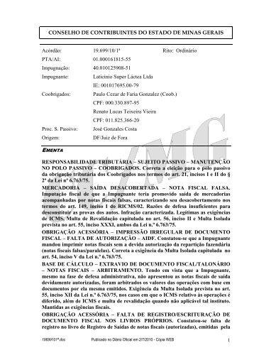 19699101ª - Secretaria de Estado de Fazenda de Minas Gerais
