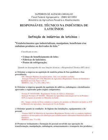 responsável técnico na indústria de laticínios - Programa Leite das ...