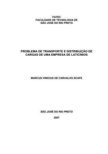 PROBLEMA DE TRANSPORTE E ... - FATEC Rio Preto