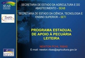 programa estadual de apoio à pecuária leiteira - Secretaria da ...