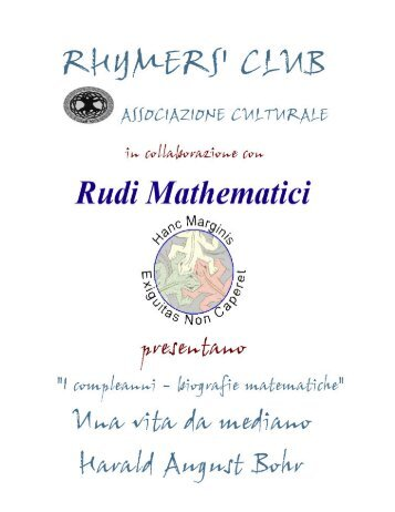 """""""Una vita da mediano"""" - Harald August Bohr - Rhymers' Club"""